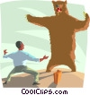 man encountering a grizzly bear, business metaphor Vector Clipart illustration