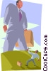 Vector Clip Art graphic  of a metaphor David and Goliath