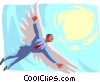 man soaring towards the sun with wings of feathers Vector Clipart picture