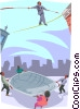 businessman walking a tightrope Vector Clip Art picture