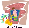 Vector Clipart image  of a man playing a saxophone
