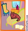 Cat sitting on a couch Vector Clipart graphic