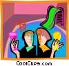 enjoying drinks by the pool Vector Clip Art image