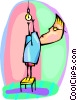 Vector Clip Art picture  of a man replacing a light bulb