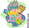 cat sitting on a pile of gifts Vector Clipart picture