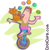 Man juggling riding on a unicycle Vector Clip Art graphic