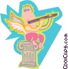 Angel playing the flute Vector Clipart illustration