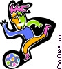 Vector Clipart image  of a Figure kicking soccer