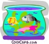 Tropical fish in fish bowl Vector Clipart illustration