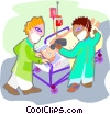 Vector Clip Art image  of a patient being wheeled into