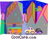 Vector Clipart graphic  of a Streetcar in city scene