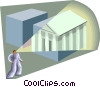 Figure looking at courthouse building Vector Clip Art picture