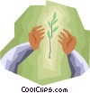 Hands with plant Vector Clipart illustration