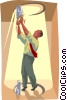 man cutting a hole in the ceiling Vector Clipart picture