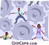Vector Clip Art image  of a people keeping the gears working