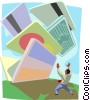 credit cards tumbling down on top of someone, debt Vector Clip Art picture