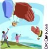 balloon hands shaking, greeting Vector Clip Art image