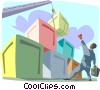cargo being loaded with a crane Vector Clip Art picture