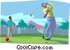 Business men golf game Vector Clipart picture