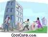 Vector Clipart illustration  of a moving people throughout an