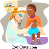 doctor examining a child with a stethoscope Vector Clipart illustration