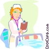 Vector Clip Art graphic  of a nurse caring for a sick