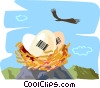 eagle's nest with eggs depicting UPC code markings Vector Clip Art graphic