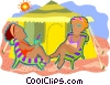 enjoying a day at the beach Vector Clipart image