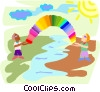 Vector Clipart graphic  of a Figures holding rainbow