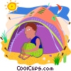 day at the beach Vector Clip Art graphic
