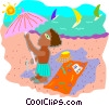 Vector Clip Art picture  of a day at the beach