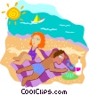 Couple relaxing on the beach Vector Clip Art graphic