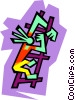 Vector Clipart image  of a Figure climbing ladder