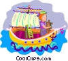 Vector Clip Art graphic  of a sailing ship with a sailor