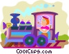 Vector Clipart graphic  of a man in a locomotive