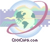 Vector Clipart graphic  of a Globe and computer circuits