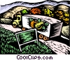 Vector Clipart illustration  of a Truck carrying fruit across state line