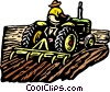 Vector Clip Art graphic  of a Farmer on tractor