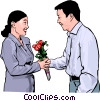 Vector Clip Art graphic  of a woman receiving flowers from an admirer