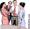 Vector Clip Art graphic  of a office party discussion