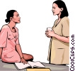 Vector Clip Art graphic  of a two business woman discussing