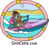 two people riding a personal watercraft Vector Clip Art image