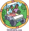 Vector Clipart graphic  of a two men riding in golf cart