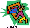 Vector Clipart graphic  of a Figure with video camera