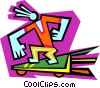 Vector Clipart graphic  of a Figure on skate board