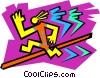 symbol of man jumping hurdles Vector Clipart illustration