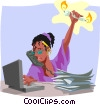 Vector Clip Art graphic  of a women burning candle at both