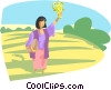women with medallion in field Vector Clipart image