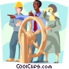 Business metaphor, people driving ship Vector Clipart graphic