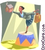 Vector Clipart illustration  of a balancing act between home and